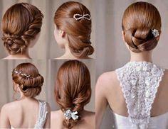 Hochzeitsfrisuren zum Nachmachen für die moderne Braut - hochzeitsfrisuren nachmachen flechtfrisuren mit glitzersteinen und blümchen