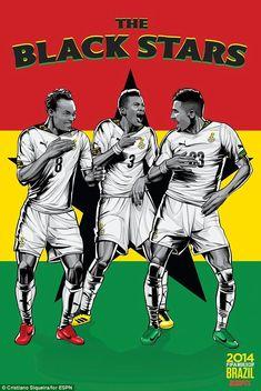 Ghana national football team poster by brazilian designer Cristiano Siqueira. FIFA World Cup 2014 Brazil. Soccer Art, Football Art, National Football Teams, Football Posters, Fifa Football, Sports Posters, Soccer Tips, Nike Soccer, Sport Football
