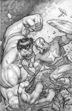 Hulk vs Captain America by: Keown
