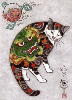 Meet Kazuaki Horitomo - a California-based Japanese artist that has two great passions in life - cats and tattoos. The artist decided to combine the two and great new project was born - Monmon Cats. Japanese Cat, Japanese American, Image Chat, Motifs Animal, Illustration Art, Illustrations, Botanical Illustration, Ink Wash, Japanese Prints