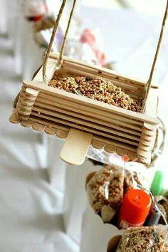 Bird feeder from ice cream sticks