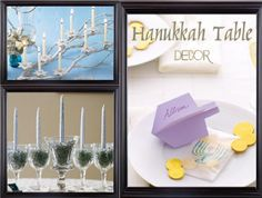 We have lovely decor ideas for your Hanukkah table including a silver candlelit branch centerpiece, a modern menorah of glass and beads, and cute dreidel place cards, check them out below. How To: http://www.relishcaterersnyc.com/760907/2013/11/18/holiday-entertaining-hanukkah-edition-part-i.html