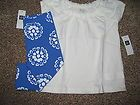 NWT Baby Gap Girls White Top/Blue Flowered Capri Cropped Leggings Outfit Size 3T - http://clothing.goshoppins.com/baby-toddler/nwt-baby-gap-girls-white-topblue-flowered-capri-cropped-leggings-outfit-size-3t/