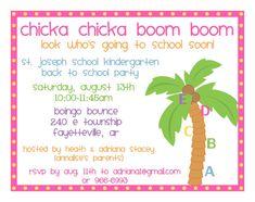 Chicka Chicka Boom Boom Back to School Party Invitations
