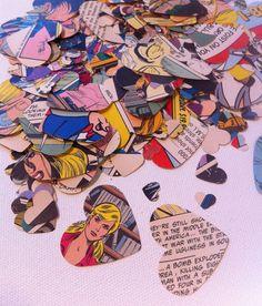 500 Vintage Comic Book Heart Confetti Wedding Repurposed Decor