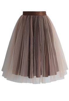 Festive Pleated Mesh Tulle Skirt in Brown - New Arrivals - Retro, Indie and Unique Fashion