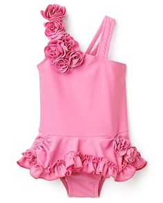 NWT Authentic Toddler//Girls Pink Heart Skirted Tutu Bow Bikini Swimsuits 2T-6X