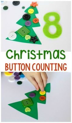 Christmas tree button counting activity for kids! Teach your kids to count with this fun and festive Christmas tree! This no prep Christmas Tree button counting activity is perfect for your math centers during the holidays! Plus, your kids will love it! #christmas #math #counting #learning #preschool #kindergartenlearning