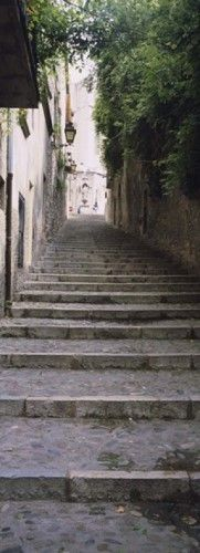 Narrow staircase to a street, Girona, Costa Brava, Catalonia, Spain Poster Print by Panoramic Images (12 x 36)