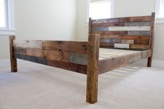 Reclaimed Pallet and Barn Wood Queen Bed headboard by newantiquity