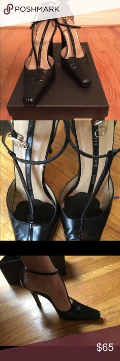 "Gucci T strap pointy toe heels Black t strap (Mary Jane style) pointy toe heels by Gucci. Excellent used condition, no scratches or scuffs and like new half soles. Still in box. 3"" heel. Gucci Shoes Heels"