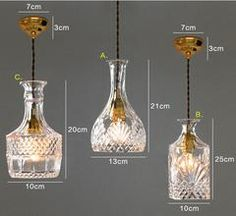 Wine decanter bottle pendant light chandelier with by TudoandCo Decanter Lights, Crystal Decanter, Bottle Lights, Wine Decanter, Wine Bottle Chandelier, Bottle Art, Bottle Crafts, Beer Bottle, Cut Glass