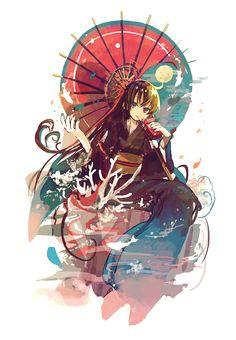 anime girl in kimono with pocky