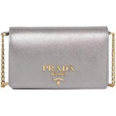 Crossbody Bag ($865) ❤ liked on Polyvore featuring bags, handbags, shoulder bags, silver, prada shoulder bag, prada purses, cross body, crossbody shoulder bag and prada