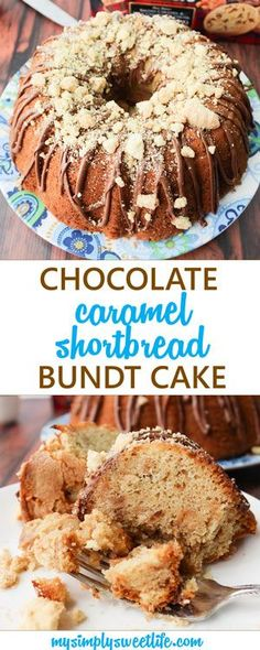 A sweet and moist cake filled with Walker's milk chocolate caramel shortbread cookies and cookie butter, topped with a milk chocolate drizzle and additional shortbread cookies. This cake is perfect with a big glass of iced coffee or to split with friends over brunch. Who can resist chocolate, caramel, and cookies!?! #bundtcake #walkers #shortbread #saltedcaramel #caramel #cookiebutter
