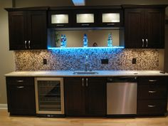 Lighted Shelf in home bar