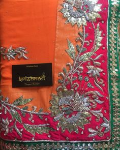 Beautiful saree only on Krishnam 9099021021 Zardozi Embroidery, Couture Embroidery, Hand Embroidery, Embroidery Designs, Desi Wedding Dresses, Pakistani Wedding Outfits, Ladies Suits Indian, Maggam Work Designs, Fancy Suit