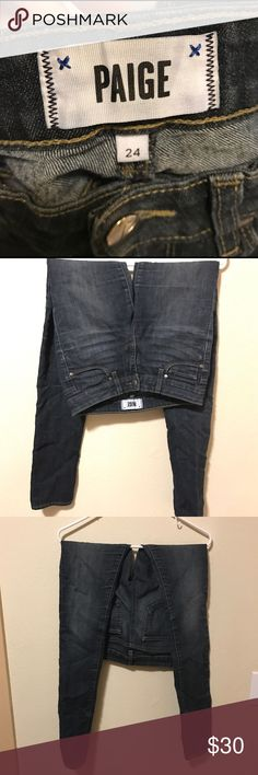 Paige Premium Denim Skinny Jean Paige Premium Denim dark wash Peg Skinny Jean in good condition. Loved these jeans, but since I've gained weight they no longer fit. Paige Jeans Jeans Skinny