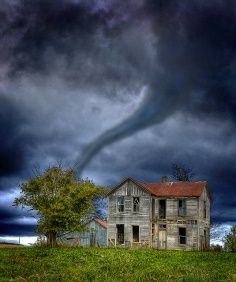 stormy weather - tornado in farm country                       Wow I have never seen one, so powerful!