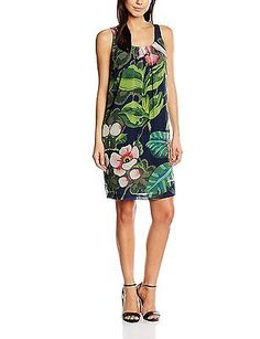 8, Bleu (Navy), Desigual Women's Vest_elena Sleeveless Dress NEW