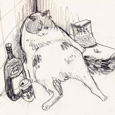 Cool Art Drawings, Art Drawings Sketches, Cat Drawing, Painting & Drawing, Drunk Cat, Arte Peculiar, Grunge Art, Arte Sketchbook, Hippie Art