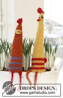 """Bill & Ted - Felted DROPS Easter chickens in """"Nepal"""". - Free pattern by DROPS Design"""