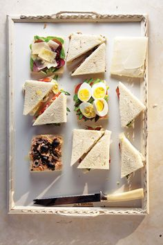 Our favorite fillings for Venetian tea sandwiches are asparagus and eggs, tuna and olives, and arugula with cured beef.