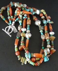Mixed Gemstone 3-Strand Necklace with Turquoise, Carnelian, Jade, Agate, Afghan Rounds and Sterling Silver