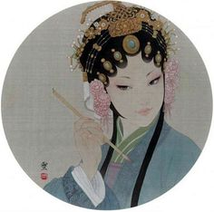 Portraitures of Dan by Gongbi artist Zhou Xue(周雪). The Dan (旦) refers to any female role in Peking opera. And Gongbi(工笔) is a careful realist technique in Chinese painting. Chinese Artwork, Chinese Painting, Chinese Opera, Drawing Projects, Drawing Ideas, China Art, Japan Art, Ancient Art, Wallpaper