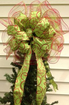 Double Sided Christmas Tree Topper Bow with by WreathsByTheSea, $29.99 White Christmas Trees, Beautiful Christmas Trees, Grinch Christmas, Christmas Bows, Very Merry Christmas, Holiday Tree, Winter Christmas, Christmas Holidays, Christmas Crafts