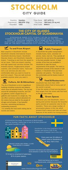 Infographic of Stockholm City - Diagram Representation on Stockholm Quick Facts, about Airport, art & culture, palces, Stockholm public transport, green spaces, and attraction. #infographic #stockholminfogrphic #infographicstockholm #stockhomguide