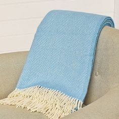 blue and cream herringbone wool throw by marquis & dawe | notonthehighstreet.com