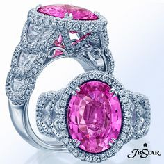 An exquisite pink sapphire engagement ring with half moon diamond sides edged in micro-pave diamonds. #pinksapphire #diamonds
