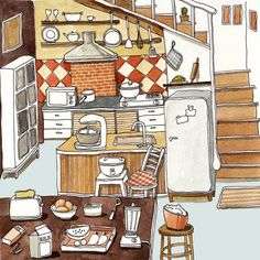 Cute Puffy Cartoon Kitchen Illustration by SUNTUR ~ Brown Tan