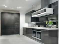 kitchen colour schemes - I like the full gloss / glass on the cabinetry