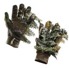 3D Leaf Camouflage Hunting Gloves Full Finger Anti-Slip Hunting Gloves, Interesting Stuff, Three Dimensional, Camouflage, Grid, Palm, Finger, Survival, Middle