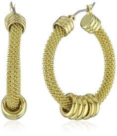 """Anne Klein """"ARCADIA"""" Mesh Click-It Hoop Earrings - Anne, Arcadia, ClickIt, Earrings., Hoop, Klein, Mesh - http://designerjewelrygalleria.com/anne-klein-jewelry/anne-klein-arcadia-mesh-click-it-hoop-earrings/"""