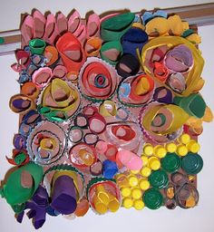 art & ideas that grow: Rhythmic Rings - great recycling project - cardboard tubes, marker tops, plastic lids, etc. Visual Texture lesson Suitable to aid with GCSE Question like Textures Collage, Third Grade Art, Cardboard Art, Cardboard Tubes, Recycled Art Projects, Recycled Materials, Paper Installation, Recycling, School Art Projects