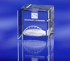 3d crystal bevelled glass cube Wembley Stadium