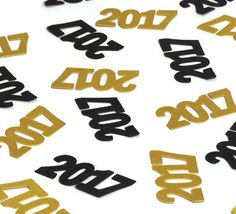 This 2017 confetti makes perfect New Years Eve party decorations, and they fit nicely into our line of black and gold party supplies. These are also great for a wedding or graduation, or a baby shower or retirement party.  ** 50 pieces per order (25 of each color, or 50 of one color)  ** SIZE: 1.8 INCHES X 0.9 INCHES  ** Gold and silver are shimmer metallic cardstock (105lb) and are colored on both sides!  ** Black is smooth 65 lb cardstock  ** Choose your colors during checkout, as well as…
