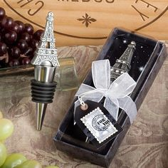 These From Paris with Love Collection Eiffel Tower wine bottle stopper favors are truly tres chic. One of the most recognizable landmarks from one of the world's most romantic cities, the Eiffel Tower is an enchanting symbol of love. Tour Eiffel, Paris Torre Eiffel, Paris Eiffel Tower, Eiffel Towers, Wedding Supplies, Wedding Favors, Wedding Ideas, Wedding Stuff, Party Favors