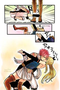 Natsu and Lucy (NaLu). That's something Natsu would do Fairy Tail Nalu, Fairy Tail Love, Fairy Tail Natsu And Lucy, Fairy Tail Ships, Fairy Tail Funny, Fairytail, Gruvia, Nalu Smut, Couples Fairy Tail