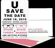 PRINTED: Eye Chart Save the Date Card by ExclusivelyYoursPNE