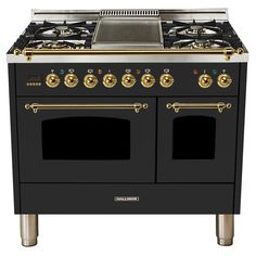 Hallman 40 in. Double Oven Dual Fuel Italian Range True Convection, 5 Burners, Griddle, Bronze Trim/Matte Graphite - - The Home Depot Bronze, New Kitchen, Kitchen Dining, Kitchen Ideas, Rustic Kitchen, Kitchen Decor, Four A Convection, Stainless Steel Griddle, Graphite