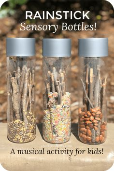 Rain Stick Sensory Bottles A Musical Activity for Kids! is part of Kids Crafts Easy Sensory Play - Rain stick sensory bottles are a wonderful auditory, visual, and tactile learning experience for kids! They are easy and fun for kids to make on their own! Infant Activities, Preschool Activities, Music Activities For Kids, Sensory Bottles Preschool, Sensory Table, Baby Sensory Bottles, Sensory Bottles For Toddlers, Sensory Activites For Toddlers, Sensory Play For Babies