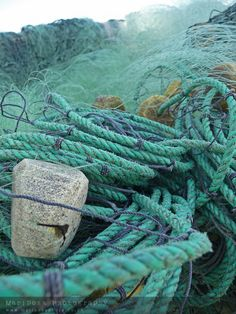 Aqua, teal and blue fishing nets