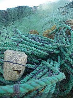 Aqua, teal and blue fishing nets