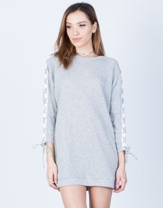 Front View of Lace-Up Sleeves Dress