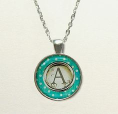 Teal Typewriter Key Monogram Necklace - monogram gifts, initial necklace, personalized necklace, letter necklace, personalized jewelry
