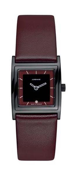 Junghans Damenuhr Florenz  Kalbsleder-Armband Poliertes, quadratisches Edelstahlgehäuse, schwarz PVD beschichtet